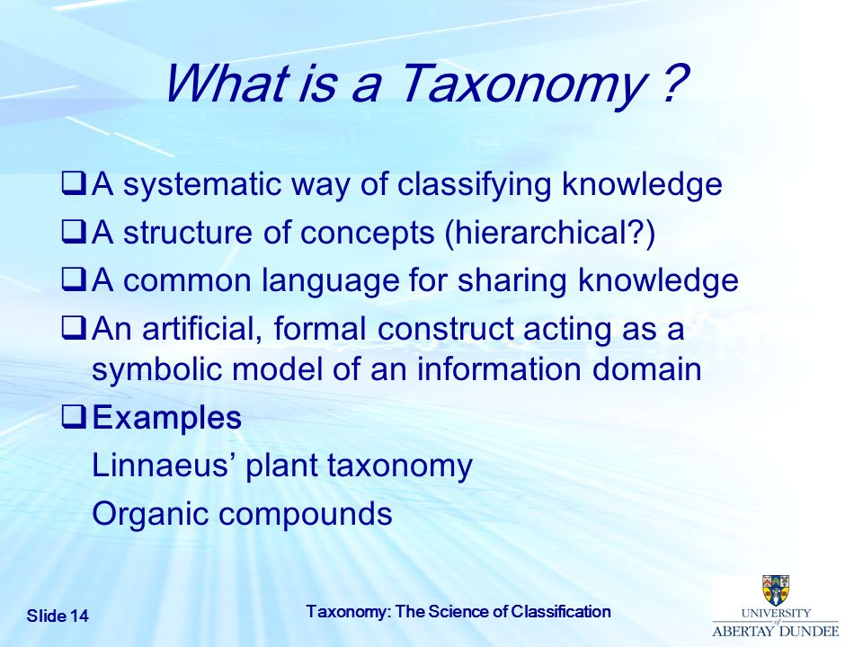 What is a Taxonomy A systematic way of classifying knowledge