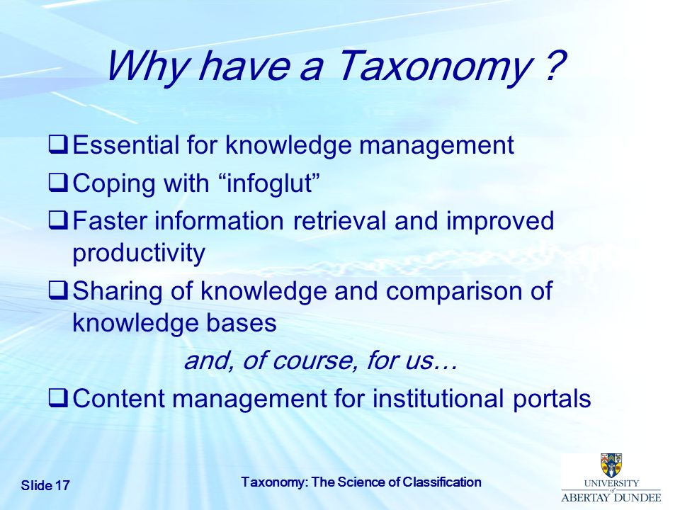 Why have a Taxonomy Essential for knowledge management