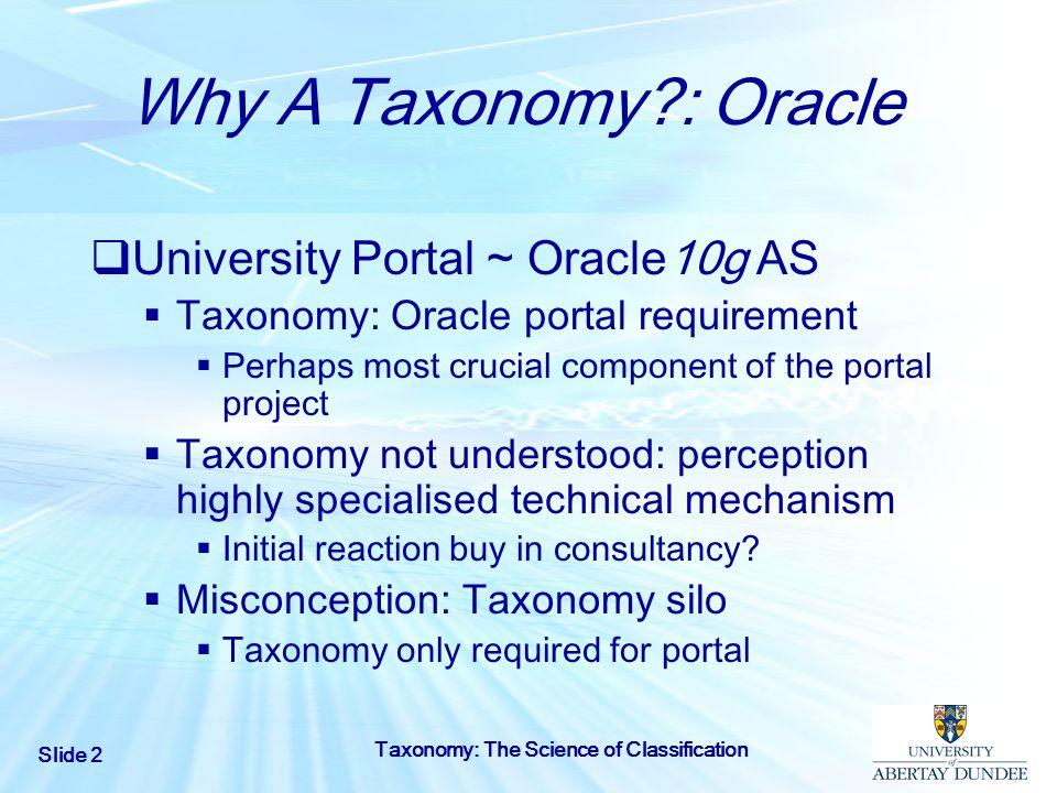 Why A Taxonomy : Oracle University Portal ~ Oracle10g AS