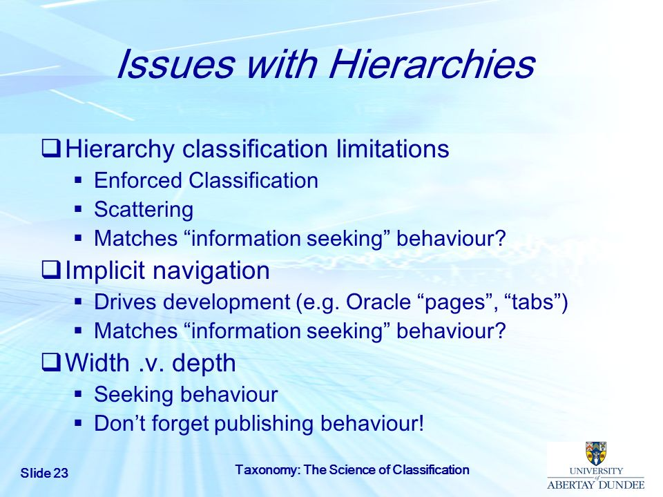 Issues with Hierarchies