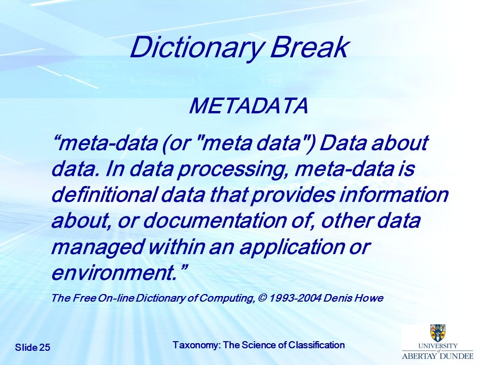 Dictionary Break METADATA