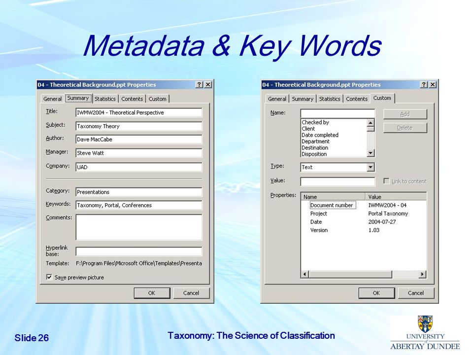 Metadata & Key Words Taxonomy: The Science of Classification