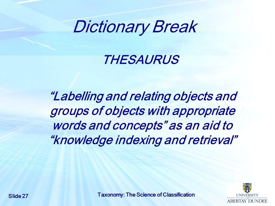 Dictionary Break THESAURUS