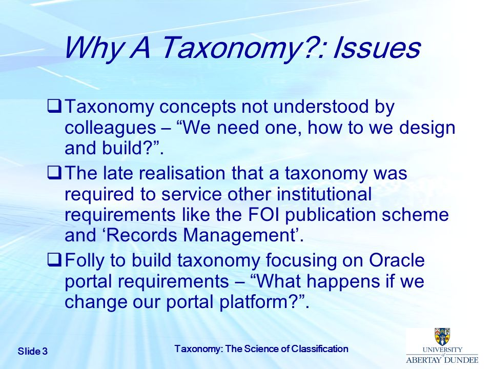 Why A Taxonomy : Issues Taxonomy concepts not understood by colleagues – We need one, how to we design and build .