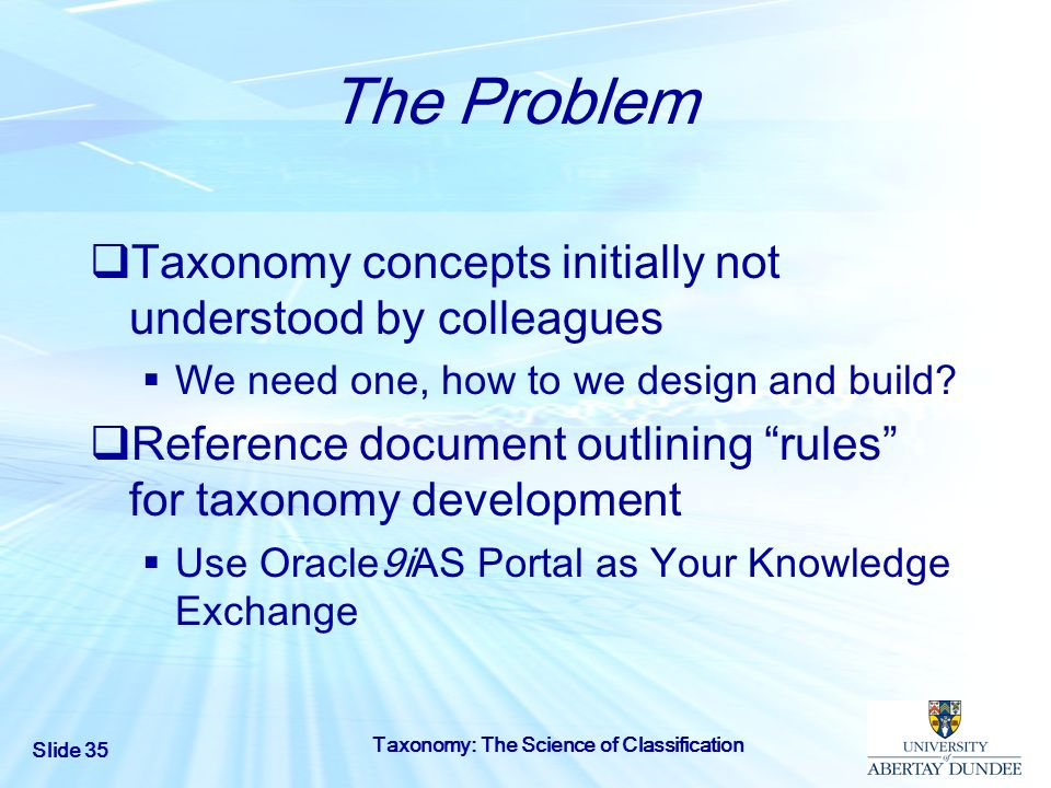 The Problem Taxonomy concepts initially not understood by colleagues