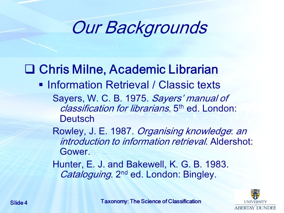 Our Backgrounds Chris Milne, Academic Librarian