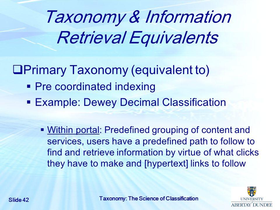 Taxonomy & Information Retrieval Equivalents