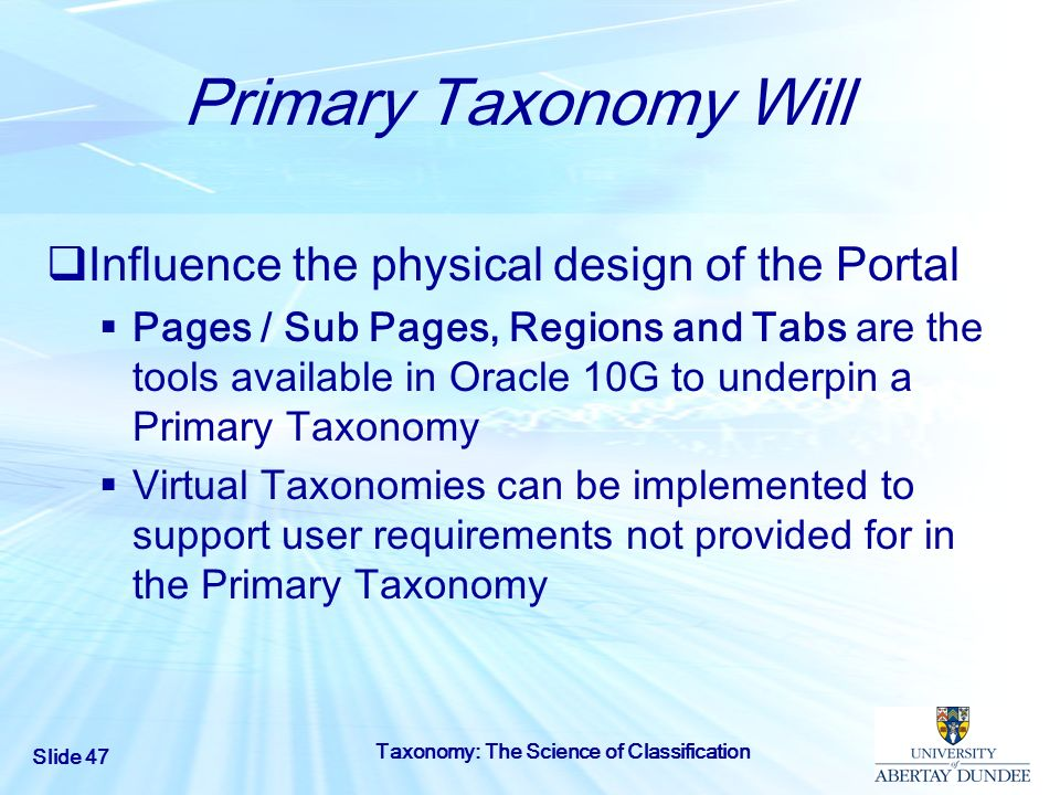 Primary Taxonomy Will Influence the physical design of the Portal
