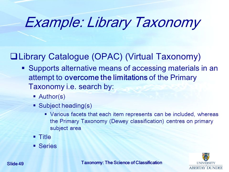 Example: Library Taxonomy