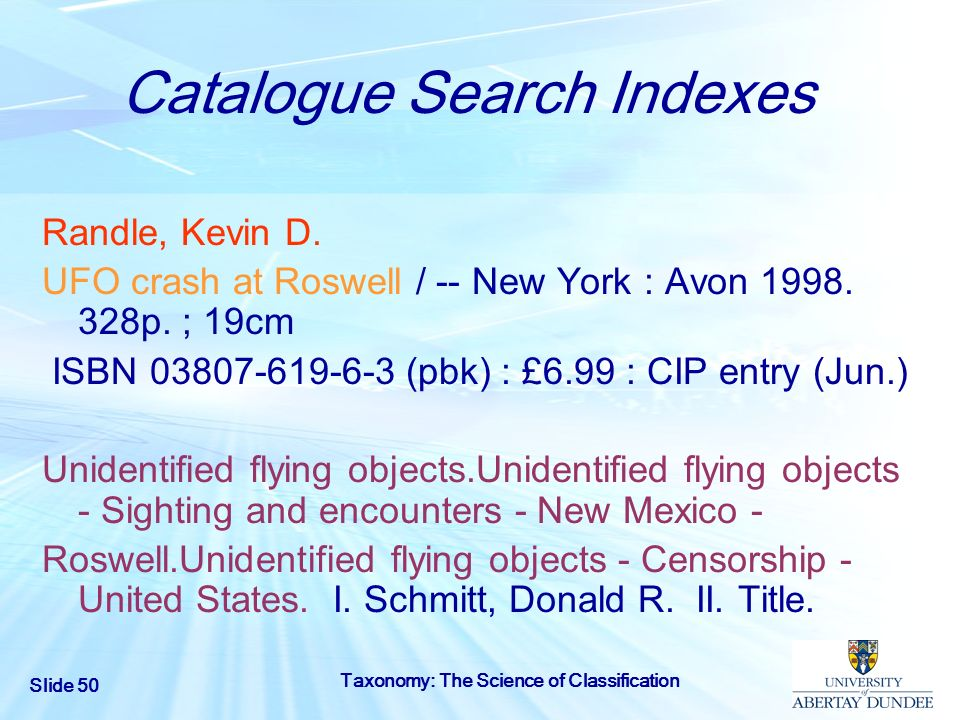 Catalogue Search Indexes