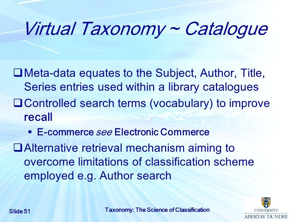 Virtual Taxonomy ~ Catalogue