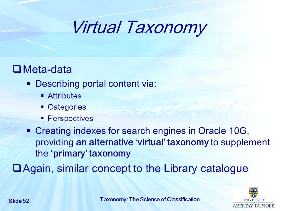Virtual Taxonomy Meta-data