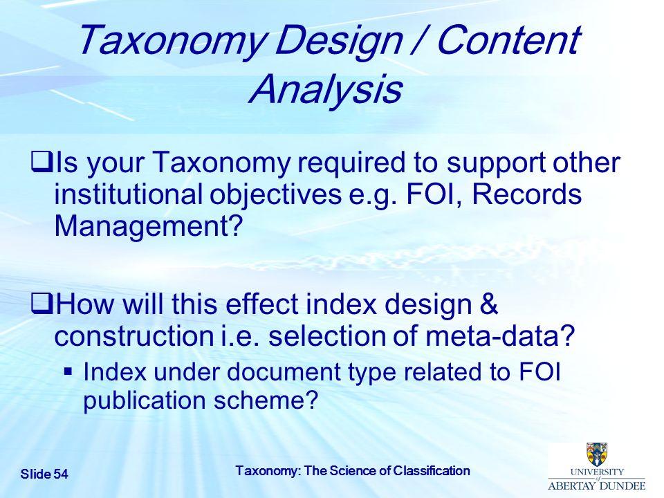 Taxonomy Design / Content Analysis
