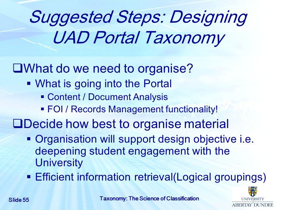 Suggested Steps: Designing UAD Portal Taxonomy