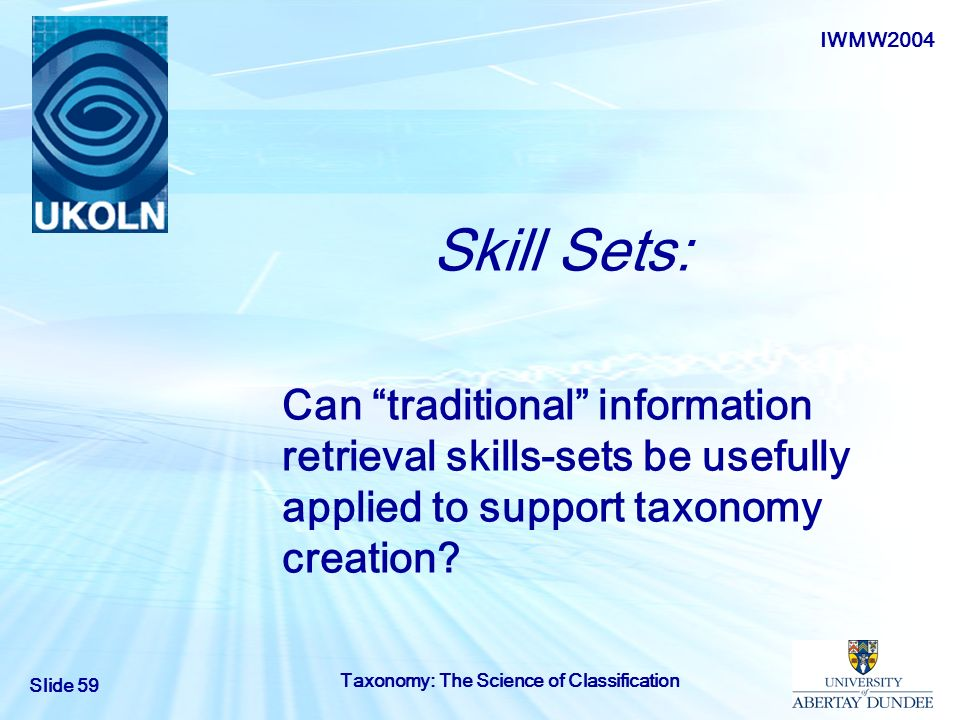 Skill Sets: Can traditional information retrieval skills-sets be usefully applied to support taxonomy creation