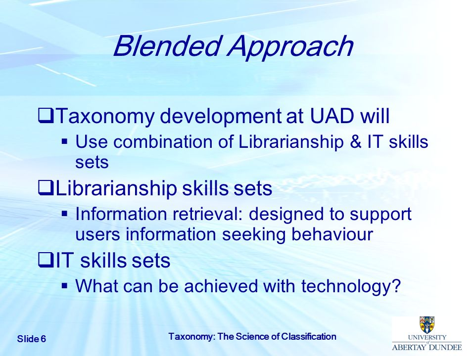 Blended Approach Taxonomy development at UAD will