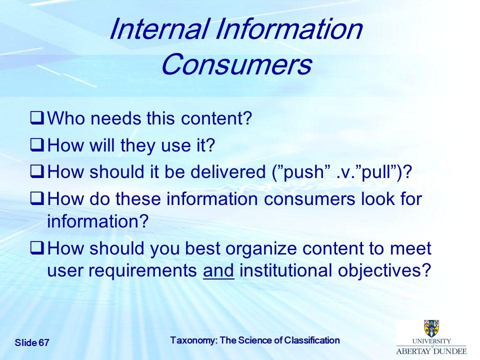 Internal Information Consumers