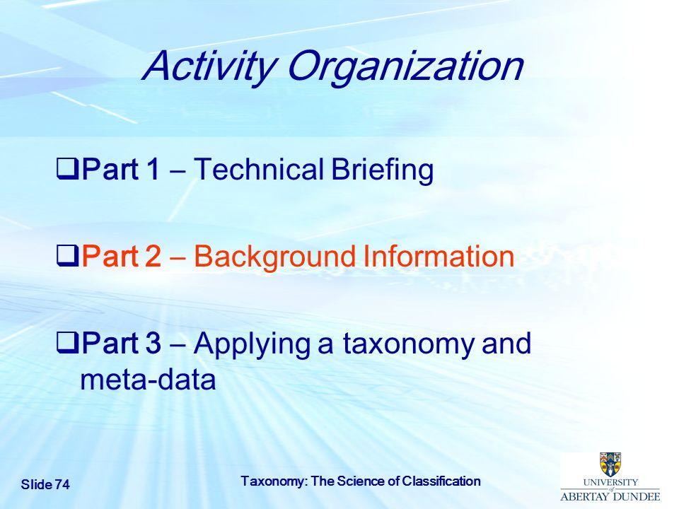 Activity Organization