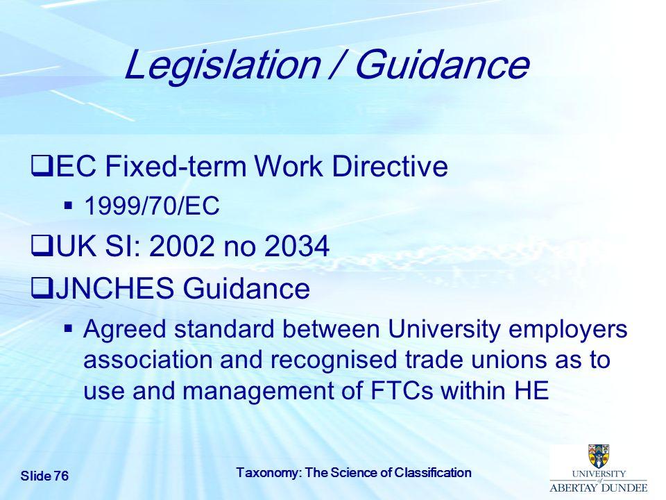 Legislation / Guidance
