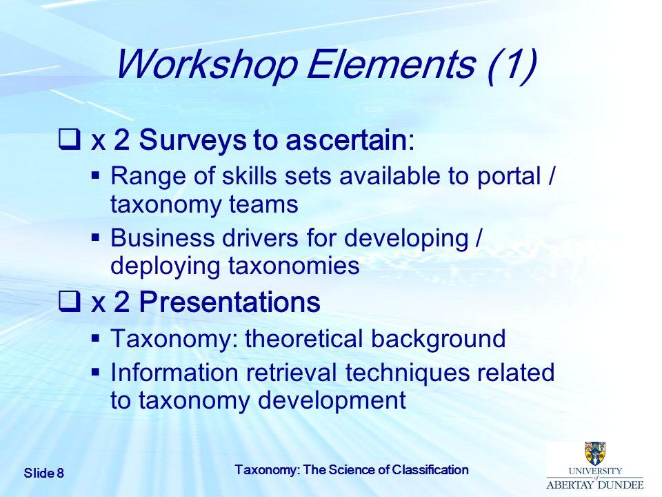Workshop Elements (1) x 2 Surveys to ascertain: x 2 Presentations
