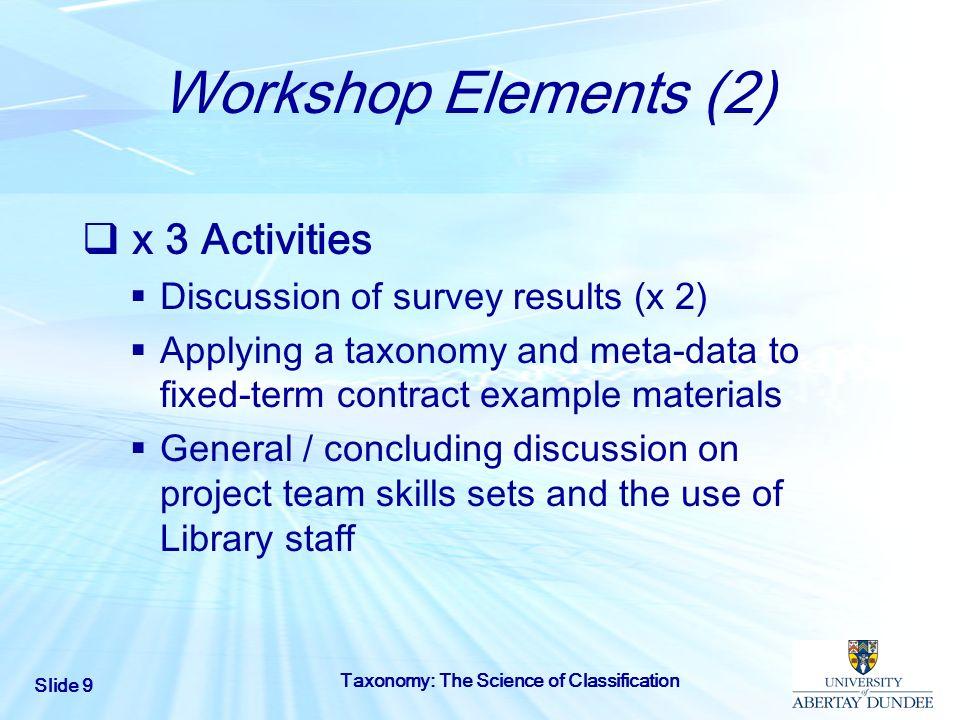 Workshop Elements (2) x 3 Activities