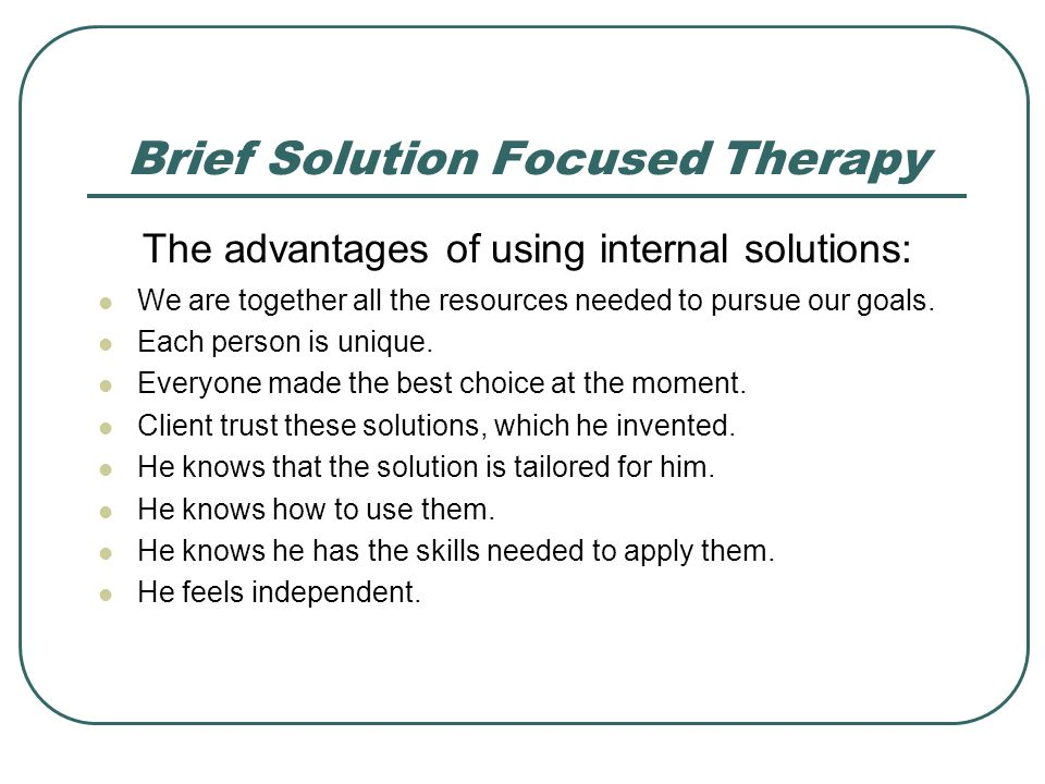solutions focused therapy discussion essay