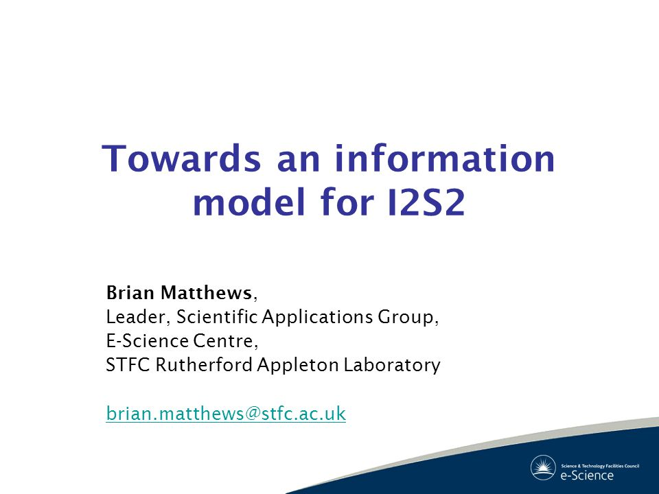 Towards an information model for I2S2