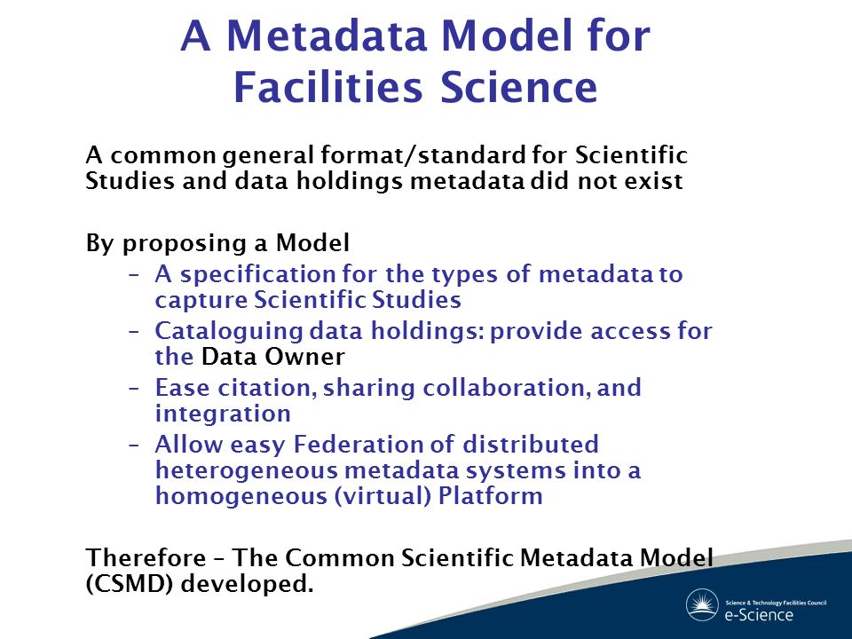 A Metadata Model for Facilities Science