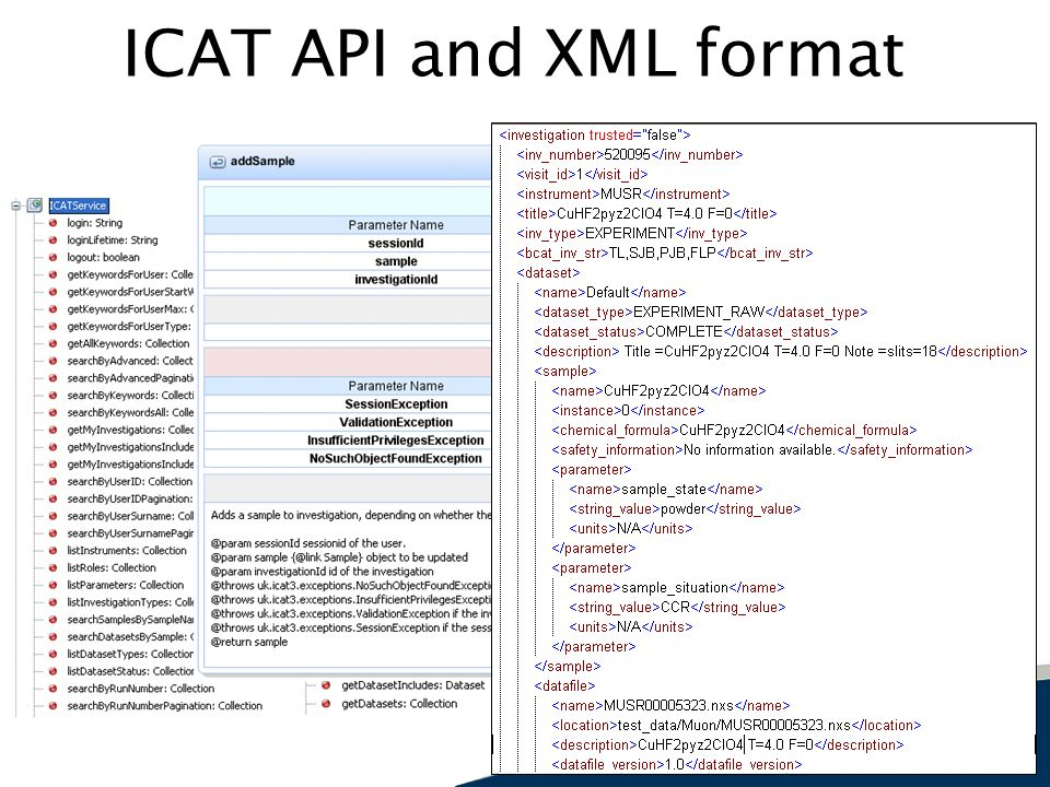 ICAT API and XML format