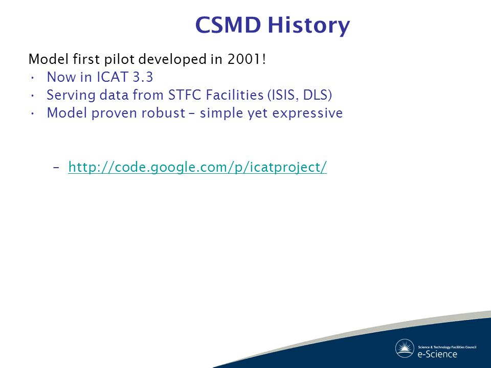 CSMD History Model first pilot developed in 2001! Now in ICAT 3.3