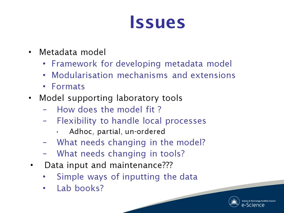 Issues Metadata model Framework for developing metadata model