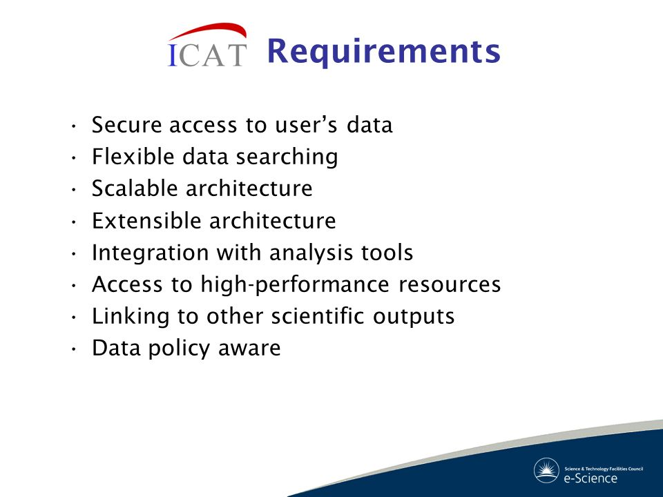 Requirements Secure access to user's data Flexible data searching