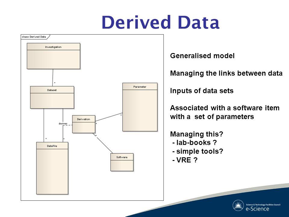 Derived Data Generalised model Managing the links between data