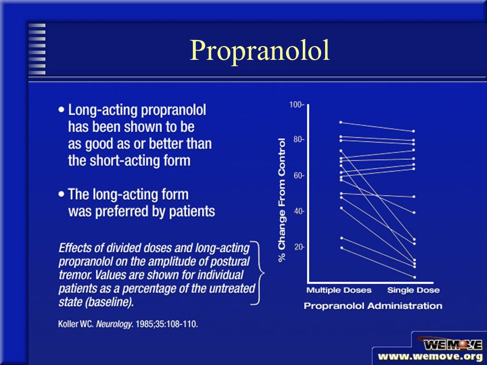 Taking Propranolol For Tremors