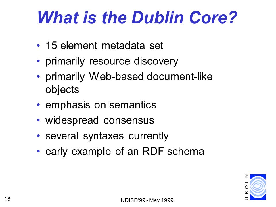 What is the Dublin Core 15 element metadata set