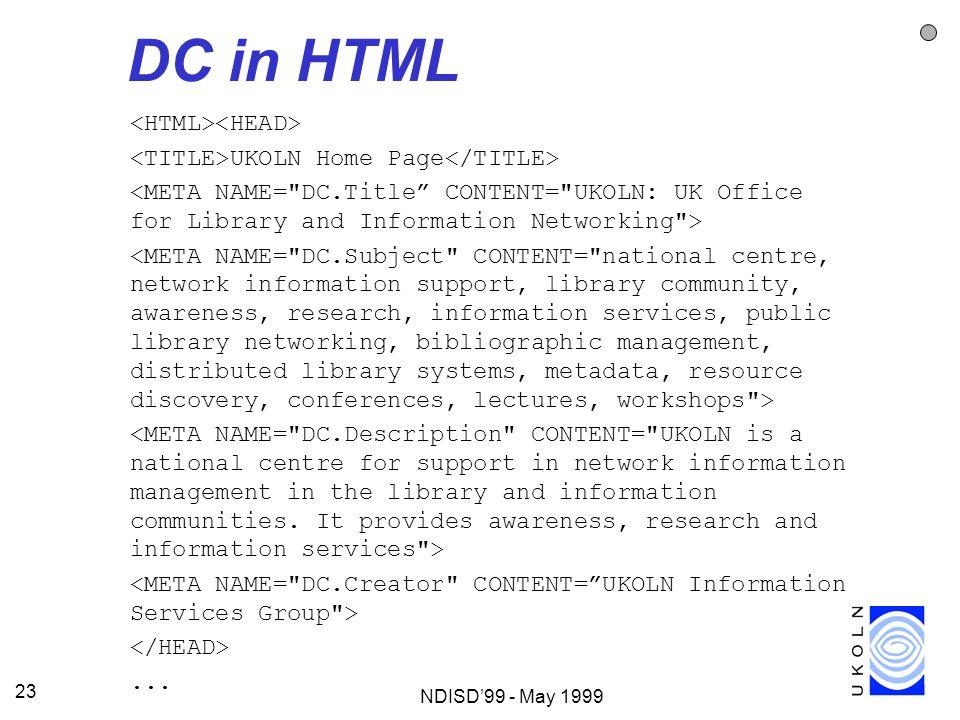 DC in HTML <HTML><HEAD>