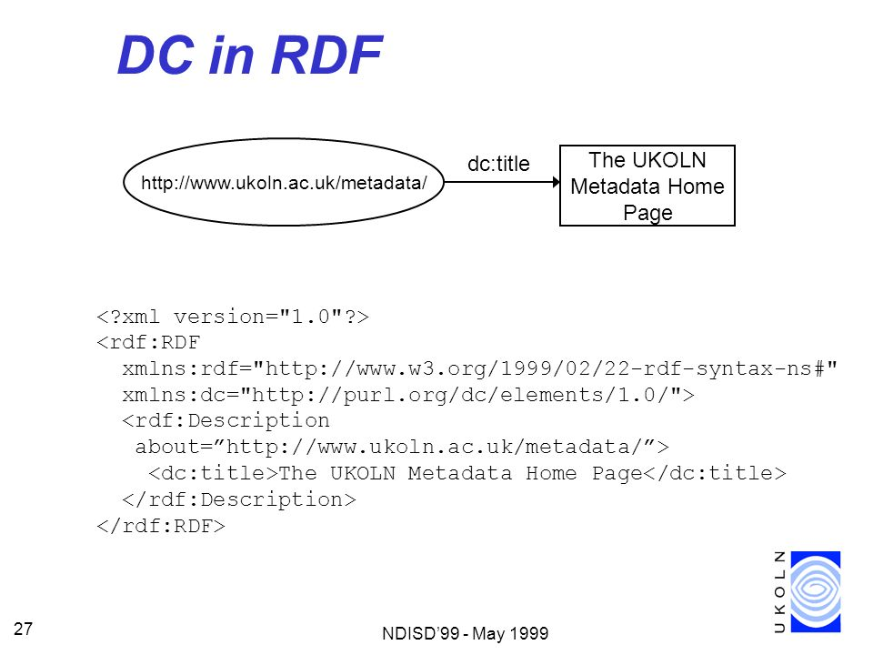 DC in RDF dc:title The UKOLN Metadata Home Page