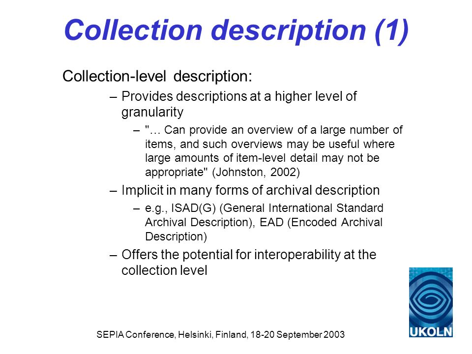 Collection description (1)