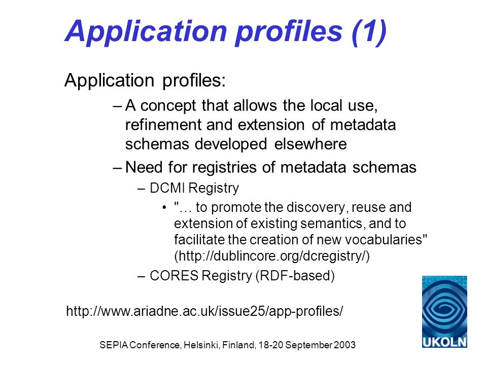Application profiles (1)