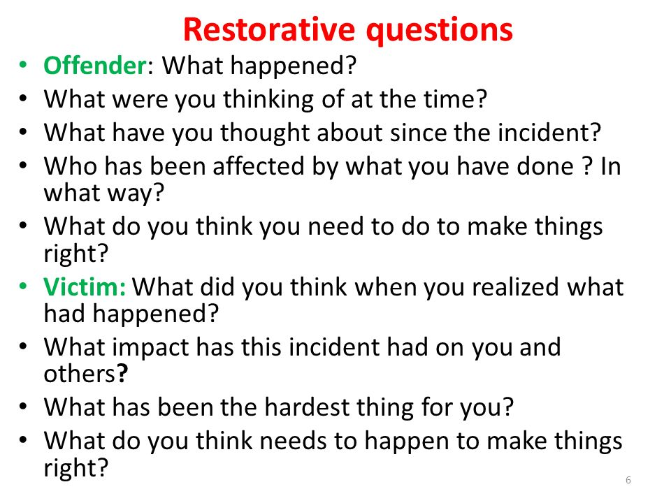 restorative justice essay question View essay - restorative justice from criminal j cjs/255 at university of phoenix restorative justice paper cjs/251 tierra alexander may 2, 2016 joseph caulfield esq restorative justice paper in.
