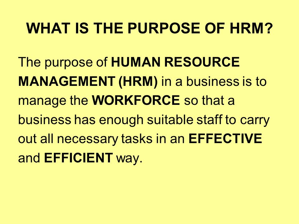 role of human resource management