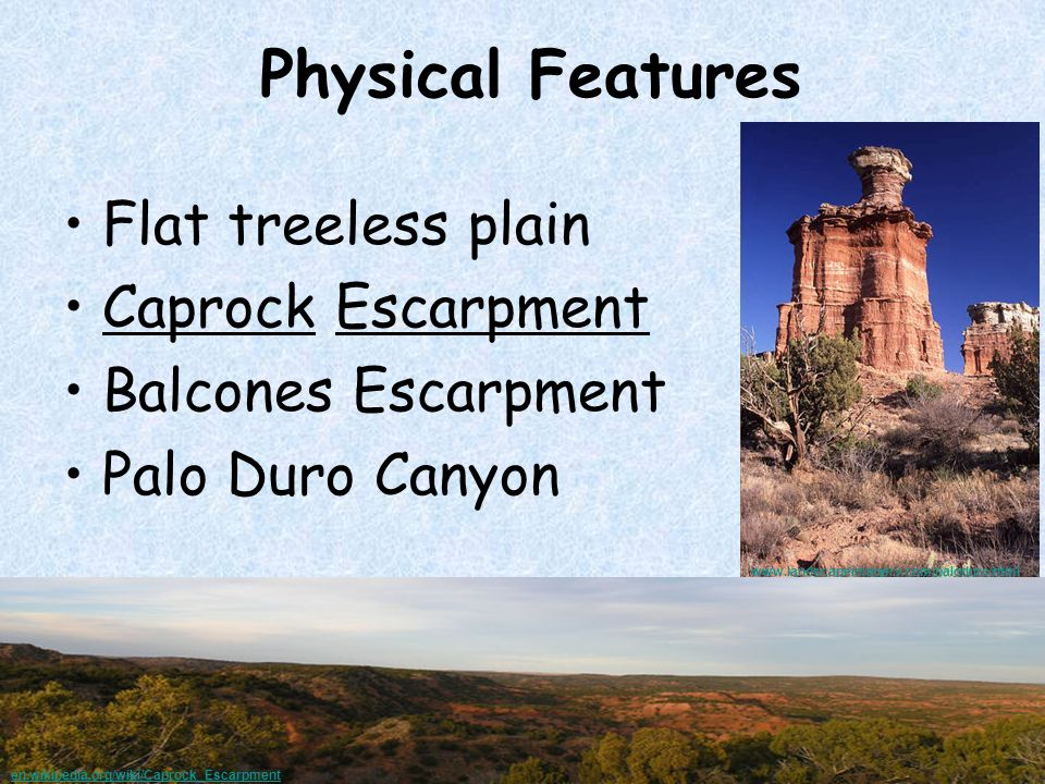 Physical Features Flat treeless plain Caprock Escarpment