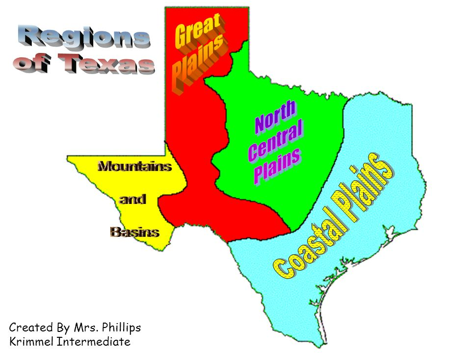 Coastal Plains Great Plains North Central Plains Regions of Texas