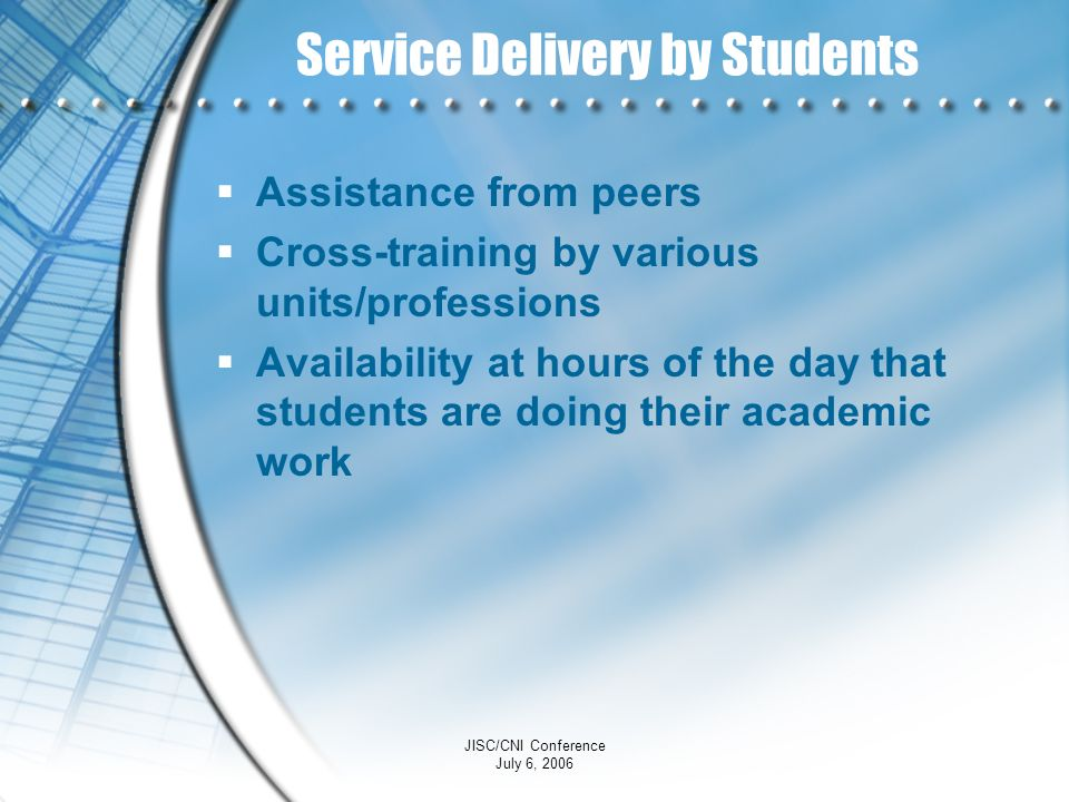 Service Delivery by Students