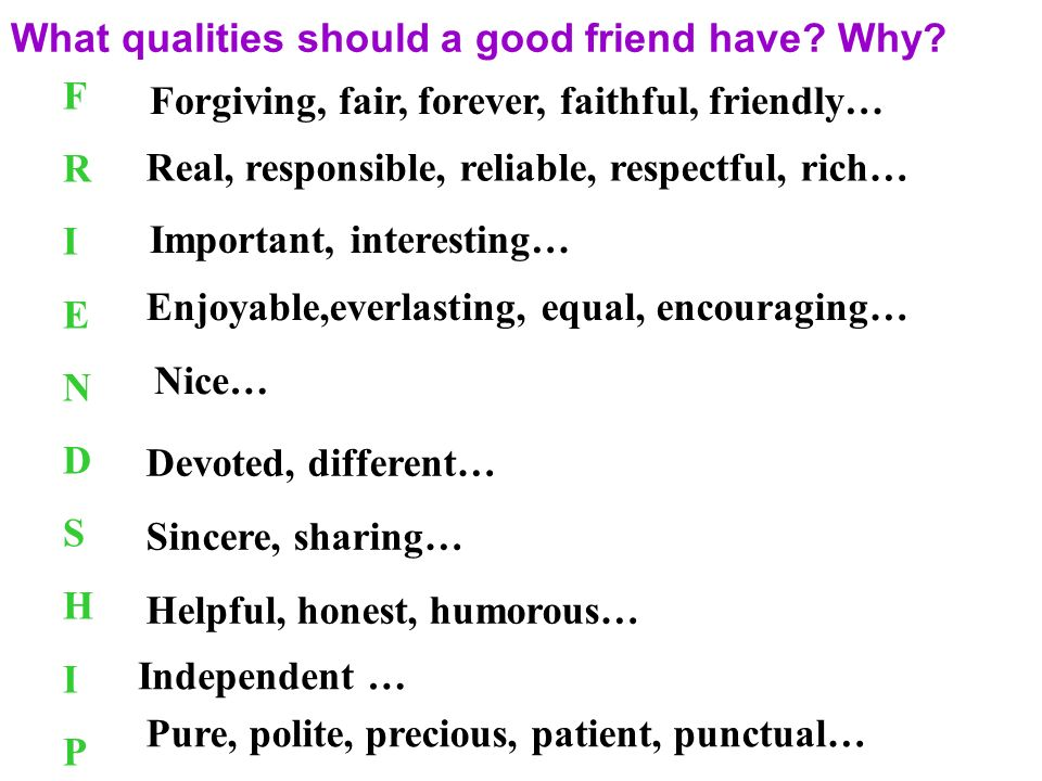 essay on characteristics of a good friend Discover the 7 most important qualities of a good friend, and learn the importance of defining what friendship means to you  the three most important qualities and values required for any relationship to survive is trust, honesty and respect.