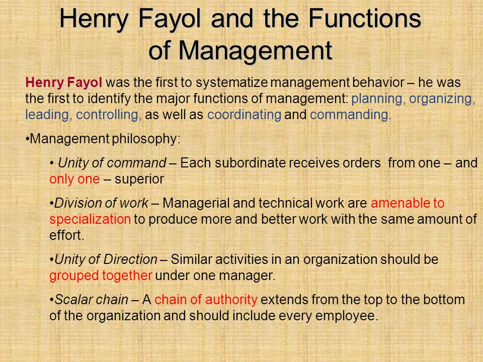 Henry Fayol and the Functions of Management