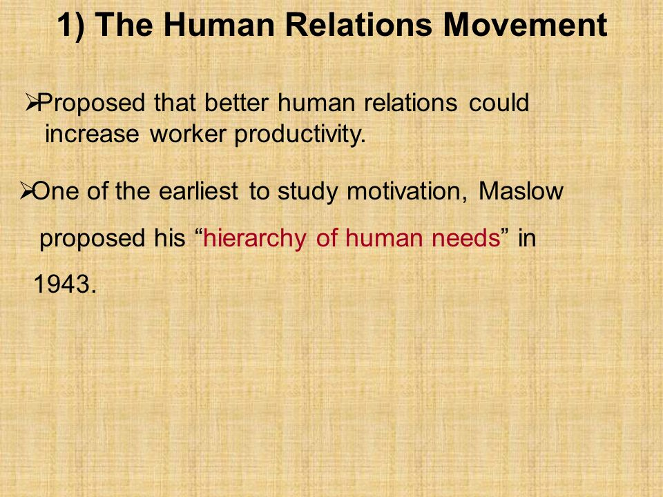1) The Human Relations Movement