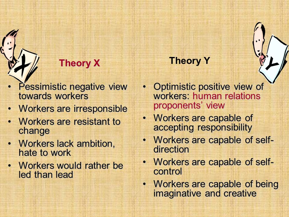 Y Theory X Theory Y Pessimistic negative view towards workers