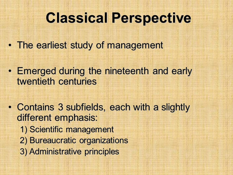 Classical Perspective