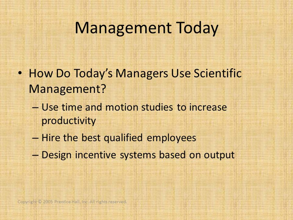 Management Today How Do Today's Managers Use Scientific Management